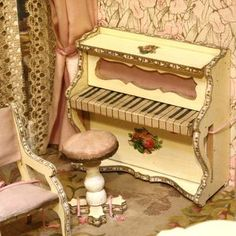 French dollhouse salon , Early French salon with all-bisque mignonettes , French dollhouse salon