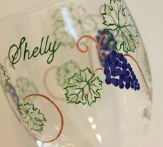 Wine Grapes Wine Glass, Glasses, Vines, Leaves, Vineyard, Winery, Barrel Tasting, Vintner, Wine Lover Gift, Bridesmaids, Wedding, Engagement, Bachelorette Party, Girl's Weekend, Red Wine, Purple, Green, Painted, Personalized, Monogrammed, Custom, Stemware, Glassware, Barware, by Flutterby Glass #CraftedwithPassion #flutterbyglass http://www.flutterbyglass.com