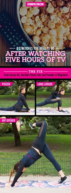 Binge watching Netflix feels great until you get up and realize how stiff you feel! Use these moves to stretch your hips, legs, and butt after a TV show marathon. Click through for the full instructions and fitness tips from YouTube fitness star, Cassey Ho!