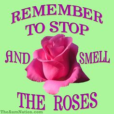 Remember to stop and smell the roses!