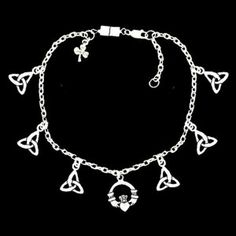 "Pewter Celtic Charms Anklet with Magnetic Clasp LadyRobyn. $14.00. Pewter Celtic Charms Anklet. Magnetic & Lobster claw clasp. 9"" with 2"" extender. Highly polished. Sterling silver over lead-free pewter"