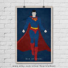 Superman Poster. Superman Art Print. Wall Art by SparkleNest