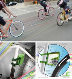 Cycling is already fun. Imagine, then, cycling and still be able to color the ground where you go? That was exactly the idea of the staff of the NY Studio Gelardi, Contrail with the design of public art. As you walk with your bike, the rear wheel is leaving a trail of chalk dust of various colors.