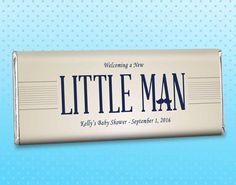 Custom Baby Boy Baby Shower Favors: Little Man HERSHEY'S chocolate bars #babyshowerfavors