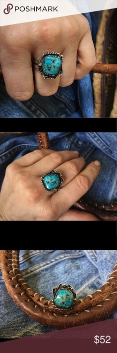 🌙  Luminous Turquoise Vintage Navajo Ring  🌙 Vintage Navajo ring from 1070s New Mexico size 7.5 - 8. It has one of the prettiest pieces of turquoise - a natural deep ocean blue with a black matrix as well as highlights that look almost golden. I'm a total turquoise fiend, and have to cut down on my collection - but this one is hard to let go! The Silver has a natural dark patina from age, but could be polished if desired. I like to see the age. You will love this ring. ✨ Listed as Free…