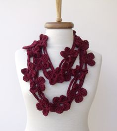 Double BORDEAUX  Bloom Scarf-Ready for shipping by knittingshop