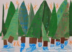Adventures of an Art Teacher: Kindergarten Tint and Shade Triangle Trees