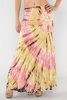 Gorgeous Chic Sunburst Tie Dye Long Maxi Skirt Sz s New  #tie #dye #skirts www.loveitsomuch.com