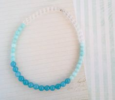 Ombre Blue Gemstone with Sterling SIlver Necklace