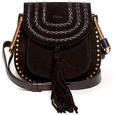 Chloé Hudson small suede cross-body bag (27 670 ZAR) ❤ liked on Polyvore featuring bags, handbags, shoulder bags, black, crossbody purse, shoulder strap bag, black cross body purse, black shoulder bag and chloe crossbody