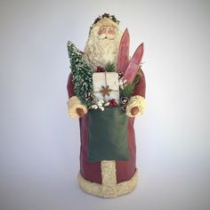 Folk Art Santa Clause Paper Mache Mixed Media Sculpture Figure w/Skis & Tree Barn Red Primitive Handmade Figure Joan Matthews 201615 by SantasfrommyHeart on Etsy
