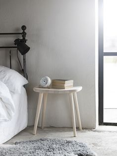 Palle stool. Solid birch. Made by Stolab, Smålandsstenar, Sweden. Design: Yngve Ekström Minimalist Bedroom, Modern Bedroom, Bedroom Decor, Scandinavian Bedroom, Extra Seating, Luxurious Bedrooms, Luxury Bedding, Stool, Dining Table