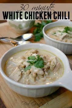 30 Minute White Chicken Chili - This delicious, hearty and healthy dinner can be on the table in less than 30 minutes! USE RICE MILK AND OMIT TOPPINGS AND IT'S SAFE!