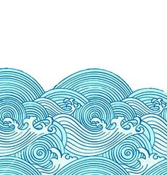 Wave pattern redone - reminds me of earthsea - Wave Drawing, Plant Drawing, Vintage Waves, Vintage Surf, Travel Backpack, Travel Bags, Tribal Cover Up, Wave Illustration, Waves Icon