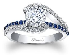 Barkev's Engagement Ring With Blue Sapphires - 7848LBSW