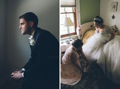 Solo portraits for a bride and groom on the morning of their wedding at the Inn at New Hyde Park. Captured by NYC wedding photographer Ben Lau.
