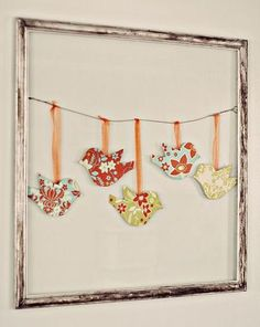 DIY~ Birds On A Wire :: Distressed frame, wire hanger, paper-fabric birds and ribbon. Lay decorative paper or burlap for the background. Diy And Crafts, Arts And Crafts, Paper Crafts, Diy Paper, Geek Crafts, Recycled Crafts, Paper Birds, Fabric Birds, Felt Birds