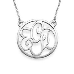 Round Monogram Necklace in Sterling Silver | MyNameNecklace