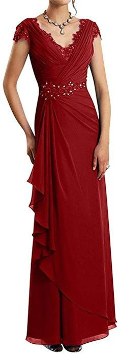 c6e4723586 Prom Queen Chiffon Ruffles V-neck Mother of the Bride Dress Formal Gowns  US2 Burgundy at Amazon Women s Clothing store