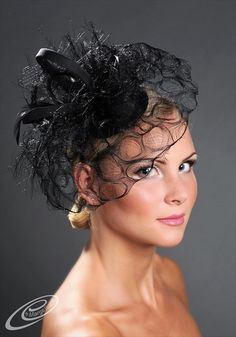 Black cocktail wedding hat Black Fascinator ...