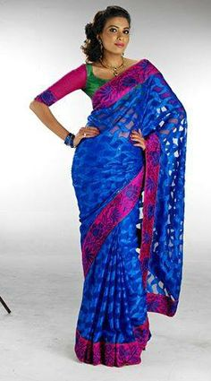 A blue saree with chic border from the Jhalak designer collection. Price: Rs 1795. Visit Pothys Boutique, G N Chetty Road, T Nagar, Chennai, to view a unique range of designer sarees.