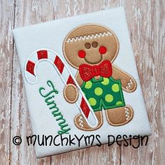 Gingerbread Boy Candy Cane Applique - 4 Sizes! | What's New | Machine Embroidery Designs | SWAKembroidery.com Munchkyms Design