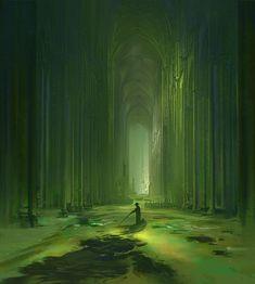 Art by Marek Mazur Fantasy City, Fantasy Forest, 3d Fantasy, Fantasy Places, Fantasy Setting, Fantasy World, Dark Fantasy, Fantasy Art Landscapes, Fantasy Landscape