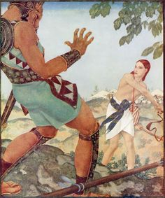 "Edmund Dulac (French, 1882 - 1953) ""David and Goliath""  (from ""Scenes from Biblical History""), 1926"
