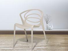 Gartenstuhl beige - Plastikstuhl - Wohnzimmerstuhl - Essstuhl - BEND
