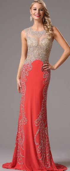 Coral Beaded Gown.