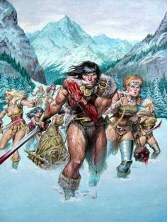 Conan and the Iron Maidens by Earl Norem Conan O Barbaro, Conan Der Barbar, Caricature, Conan The Destroyer, Savage Worlds, Conan The Barbarian, Sword And Sorcery, High Fantasy, Fantasy Warrior