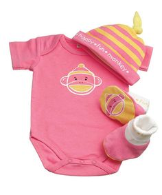 Take a look at this Pink Monkey Bodysuit Set by MVP Brands on #zulily today!