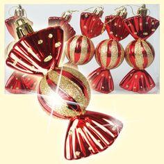 """SHOP-PARADISE.COM:  Набор ёлочных игрушек """"конфеты"""" (5 шт. ), красные, 11,5 х 5 х 4 см 2,51 €"""