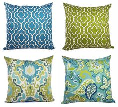 Two Pillow Covers Blue and Green - 20 x 20 Inch Decorative Throw Pillow Cover - Moroccan Trellis Pillow - Quatrefoil Pillow - Accent Pillow