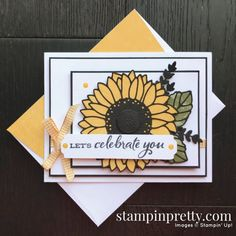 Paper Sunflowers, Mary Fish, Sunflower Cards, Stampin Pretty, Pretty Cards, Stamping Up, Scrapbook Cards, Scrapbooking, Stampin Up Cards