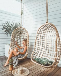 Get busy livin ✧ ♡ Chillin with Wicker Swing, Mid Century House, Egg Chair, Home Decor Furniture, Ideal Home, Decoration, Outdoor Living, New Homes, Ootd