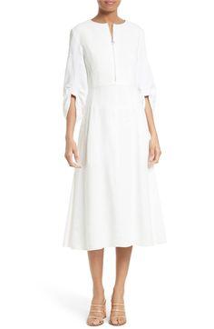 Main Image - Tibi Marta Smocked Sleeve Linen Blend Midi Dress