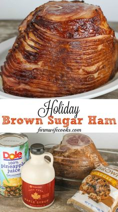 Holiday Brown Sugar Ham Holiday Brown Sugar Ham This Slow Cooker Holiday Brown Sugar Ham has all your favorite traditional flavors including pineapple and maple syrup and will be a hit at your next Holiday! Slow Cooker Ham Recipes, Crock Pot Cooking, Pork Recipes, Crockpot Recipes, Cooking Recipes, Cooking Bone In Ham, Crock Pot Ham, Baked Ham Recipes, Cooking Ham