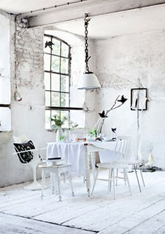 love this not so shabby chic white room. exposed beams + brick + soft linen