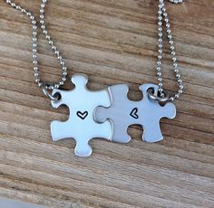Mini puzzle piece necklace set hand stamped best by CMKreations