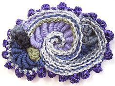 Ravelry: PrudenceM's purple & silver brooch