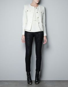 Zara OFF White Ivory Tweed Boucle Military Jacket With Gold Buttons