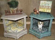 DIY End Table Dog Beds (before and after). Or, create a vignette, seasonal, family photos/mementos, inside. get some yourself some pawtastic adorable cat apparel! Dog Furniture, Repurposed Furniture, Furniture Ideas, Luxury Furniture, Modern Furniture, Decoupage Furniture, Futuristic Furniture, Furniture Buyers, Furniture Vintage