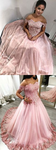 Pink Off the Shoulder Ball Gowns Prom Dress Birthday Dress P1535 #promdresses #longpromdress #2018promdresses #fashionpromdresses #charmingpromdresses #2018newstyles #fashions #styles #hiprom #prom #offtheshoulder #pink