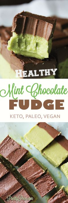 You'd never know this fudge is secretly packed with healthy ingredients! Silky smooth mint chocolate fudge without the sugar and dairy! Only 1g Net Carbs!! #keto #vegan #paleo - PrettyPies.com