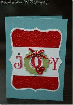 "Stampin' Up! Top Note ""Joy"" card; uses Stampin' Up@ broadstreet alphabet."