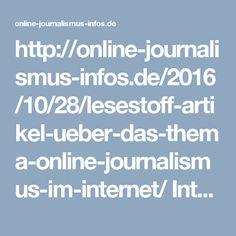 Interessante Artikel aus dem Internet zum Thema Online Journalismus