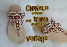 Chinelo decorado com trama de pérolas Vintage - YouTube                                                                                                                                                                                 Mais