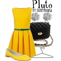 Pluto inspired outfit, created by lalakay.polyvore.com. Why must I be so poor?! Love the dress, not sure I could pull off that yellow though.