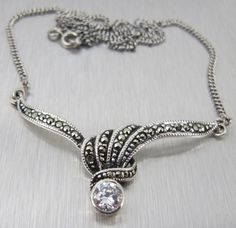Vintage Sterling Marcasite Necklace Signed TH by TonettesTreasures